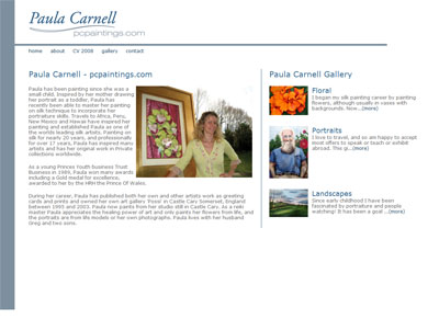 large image of Paula Carnell website.